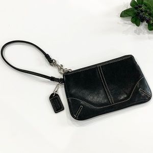 Coach Authentic All Leather Black Wristlet